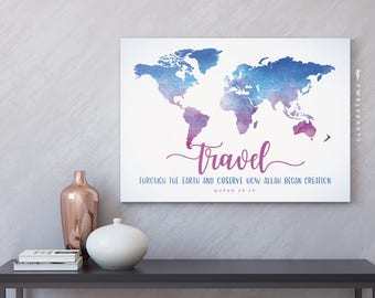 Islamic wall art, travel, Islamic prints, Muslim travel print, Islamic travel map, typography, Islam print