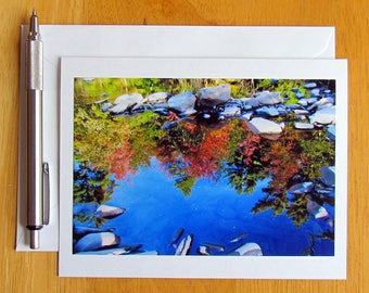 Reflection Note Card, Nature Note Card, Photo Note Card, Notecards, Stationery, Blank Cards, Nature Cards, Cards with Envelopes, Stream Card