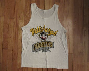 VINTAGE RARE 1988 Pittsburgh Pirates Trench Tank Top Size Large USA Made
