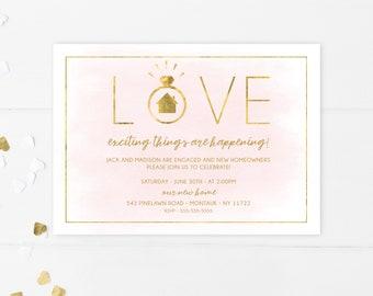 Engagement Housewarming Invitation, Engagement Party, Housewarming Party, Rose Gold, Engagement Invitations, Housewarming Invitations [751]