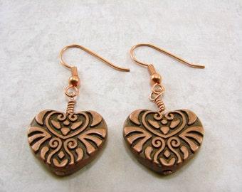 Antique Copper Filigree Textured Heart Earrings, Minimalist Earrings