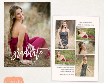 Senior Graduation Announcement Template for Photographers PSD Flat card - Simple Boho CG042