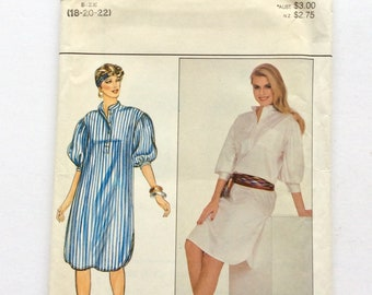 Butterick 4337 Women's Dress Pattern, Shirt Dress Pattern, Size 18, 20, 22, Easy Pattern, Plus Size Vintage Uncut Pattern
