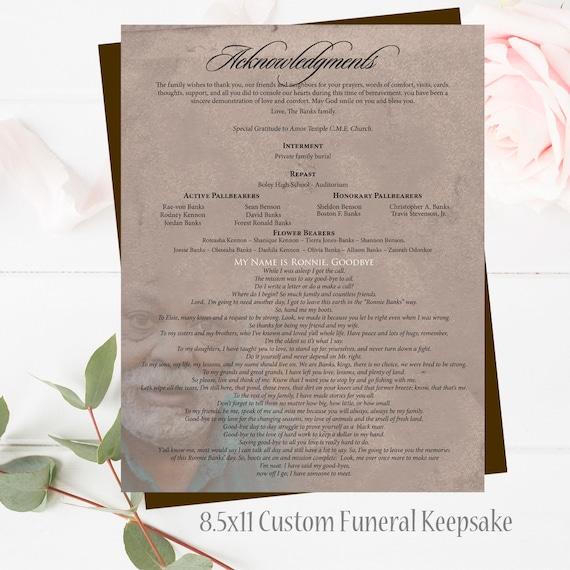 Beerdigung Programm EDITIERBARE Vorlage Feier des Lebens