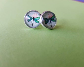 Silver/Gold Dragonfly Stud Earrings
