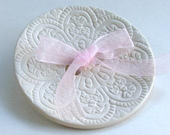 Ring Bearer Bowl ,Weddings Ring Bearer Pillow, wedding ring Dish, Ceramic wedding ring holder, Lacy Hand Built  Porcelain