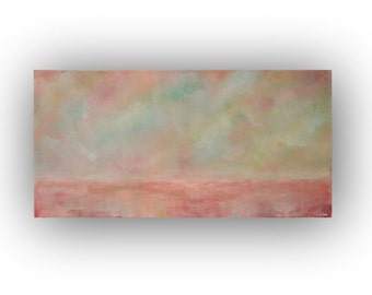 Pink Abstract Landscape, Oil Painting, Blue Sky Clouds and Field Painting, 15 x 30 Original Palette Knife Art on Canvas