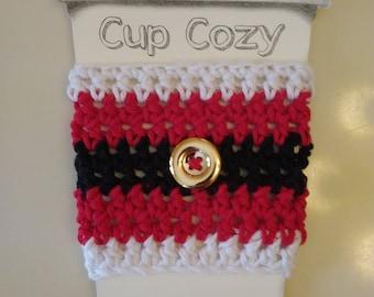 Santa Crochet Coffee Cozy, Coffee Sleeve, Stocking Stuffer, Christmas Cozy