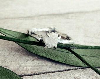 Raw diamond ring, raw diamond engagement ring, raw stone wedding ring, rough diamond ring, twig diamond ring, engagement ring, promise ring