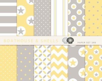 STARS YELLOW & GREY Scrapbooking digital paper pack - 12 digital papers with stars/dots/chevron print - instant download - printable - 290