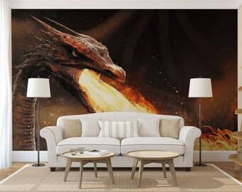 Wall Mural Fantasy, Dragon Wall Mural, Fantasy Wallpaper, Dragon Wall Decal