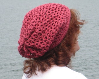 Rose Cotton Slouch Hand-Made Crocheted Hat. Ready to be Shipped