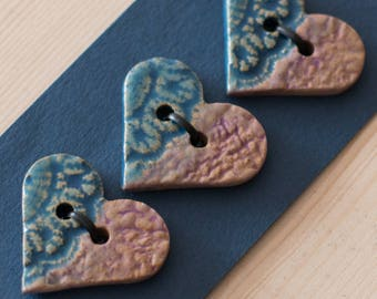 Ceramic Buttons, A Set of 3 Heart Buttons, Sew on Buttons, Handmade Stoneware Buttons, Purple & Blue Supplies.