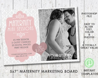 Maternity Template Mini Session Marketing Board , Photoshop Template - M1M002