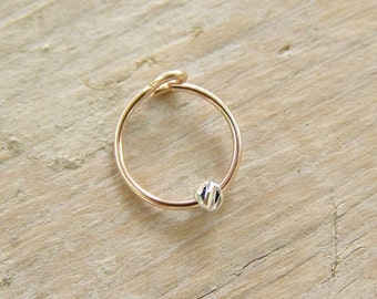 Helix Earring , Cartilage Hoop , Rose Gold Hoop with Silver Twist Bead  ,  Helix Piercing , Hoop Earring 20ga 8mm/10mm inner diameter SINGLE
