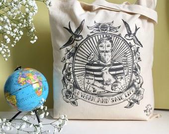 Organic cotton bag Tote / organic cotton bag / Navy Vegan