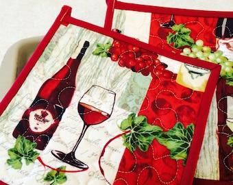Wine Potholders, Quilted Potholders, Fabric Potholders, Set of 2 Hotpads, Pot Holder, Hostess Gift, Shower Gift
