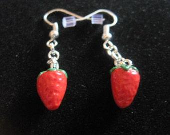 Mini-Strawberry Dangle Earrings
