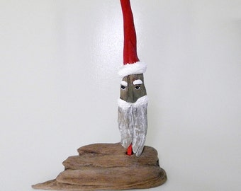 Handmade Rustic Nautical Wood / Driftwood Santa
