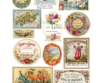 Vintage Perfume Labels - Digital Collage Sheet - 1140 - Instant Download - Vintage Labels - French Labels - Soap Labels -  Fairies - Ads