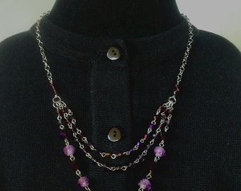 Swarovski Crystal, Purple Glass, Roses and Sterling Silver Necklace & Earring Set - Mid Century  Modern - Vintage Inspired
