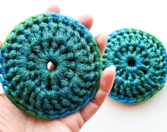 Heavy Duty Nylon Dish Scrubbies - Set of 2 through 8 - Blue and Green Crochet Kitchen Sponge - Double Strand Pot Scrubber