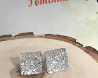 Silver Druzy Studs Earrings, Minimalist Silver Earrings, Silver Sparkle Studs, Glittery Silver Square Druzy Stud Earrings