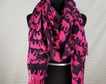 Pink Elephant on Black background Pashmina Scarf, Shawl, Wrap