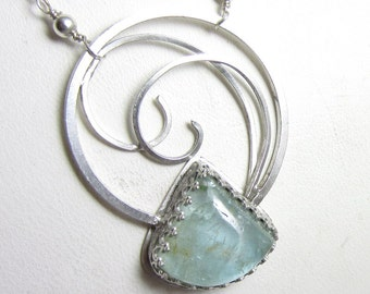 The Crashing Wave Necklace - Natural Aquamarine in Sterling Silver