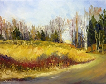 Golden Meadow Plein Air Landscape Oil Painting on Canvas