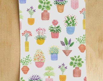 House Plant Pattern Postcard