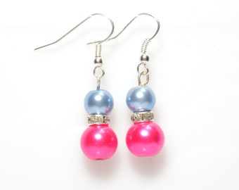 pink and blue earrings, pearl earrings, pink earrings, light blue dangle earrings, earrings, bridesmaid earrings, drop earrings