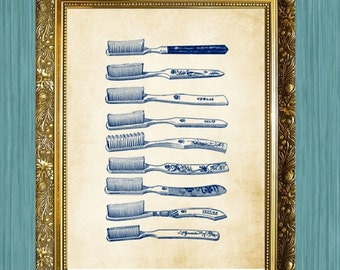 Toothbrush Art Print Print 8 x 10 Bathroom Print Bathroom Art