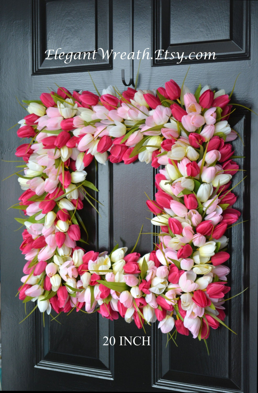 Pink Tulip Spring Wreath  THIN Storm Door Wreath Spring Decor Square Wreath   Tulip Wreath  20 Inch Shown  The Original Tulip Wreath