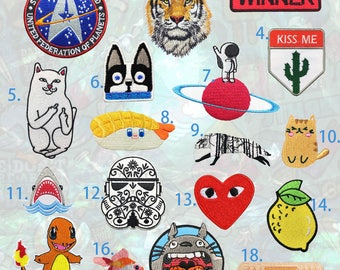 Iron on patch, Embroidered patch ,Patch for jacket ,Goldfish patch, Universe patch ,Wolf patch, dog patch, Sushi patch, Cartoon patch