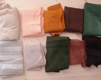 Fabric scrap bundle Scandinavian Fabric scraps linen scrap bundle linen scraps