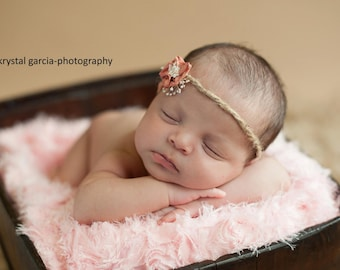 Newborn Girl Jute Headband with Flower. Shabby Chic, Baby Girl, Photography Prop, Tie Back