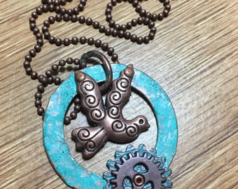 Shabby Chic Copper Bird and Gear Necklace