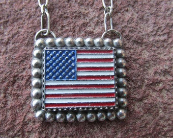 American Flag Necklace - Sterling Silver Patriotic Upcycled Vintage Flag Red White and Blue