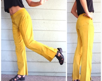 Vtg 60s Suede Pants Leather Pleated Retro Yellow Mustard Flare
