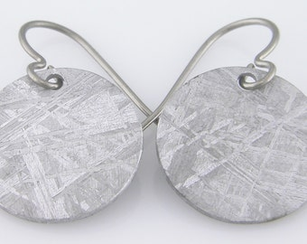 Meteorite Earrings with Titanium Loops