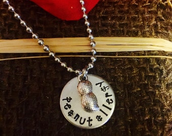 Hand stamped necklace peanut allergy children kids adults medical id
