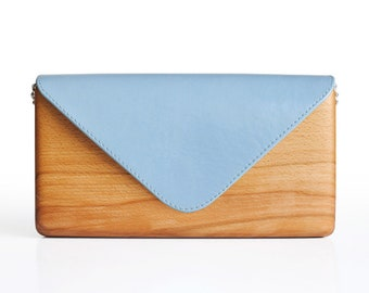 Unique Wooden Bag with Blue Leather Handcrafted   Wood and Leather Clutch Bag   Gift for Women   Handmade   Lemnia