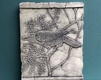 Raven Ceramic Pottery Porcelain Relief Bird Tile