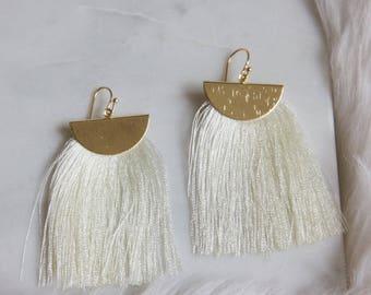 Tassel Crescent Earrings, Fringe Earrings, White Fiber