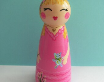 Hand Painted Love Boxes CUSTOM Happy Birthday Girl Peg Doll Cake Topper