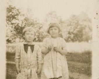 vintage photo 1925 Summer Little Girl Little Boy Collie Dog RPPC