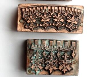 INTRICATE & tiny 1903-1953 Antique GERMAN Copper Letterpress Cut printing block Borders Fleur De Lis