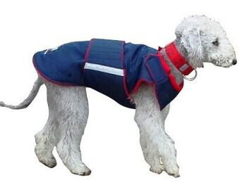 Winter Dog Coat - Blue Dog Jacket - Custom made Dog Coat - Waterproof / Fleece coat - custom made for your dog