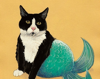 Towser is a Mer-kitty: Tuxedo Cat Mermaid Mercat - 5x7 Fine Art Cat Print from Watercolor, Gifts for Cat Lovers, Tuxedo Cat Art